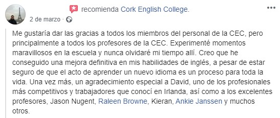 Reseña de estudianes de Cork English College